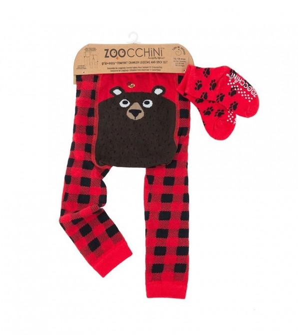 Leggings Zoocchini con calzini antiscivolo abbinati - 6/12 mesi