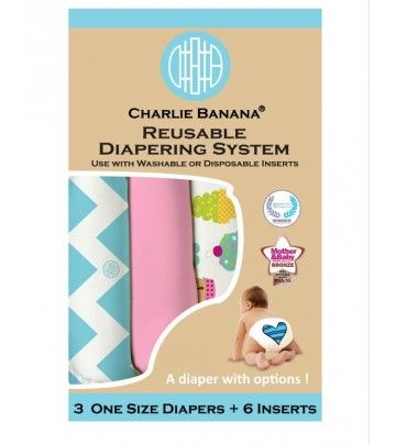 3X Pannolino lavabile Pocket One Size Charlie Banana Organic