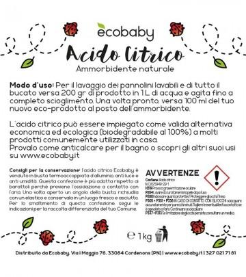 Acido Citrico Ecobaby - 1 kg - Ammorbidente ecologico