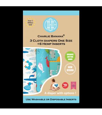 3X Pannolino lavabile Pocket One Size Charlie Banana Organic
